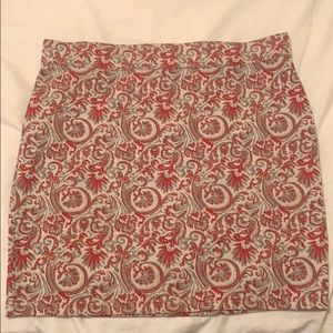 Free People Red and Silver Mini Skirt